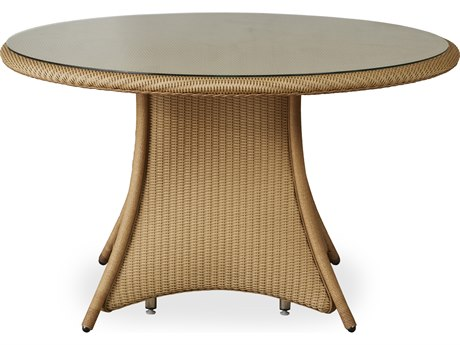 Dining & Accessory Wicker 48'' Wide Round Glass Top Dining Table