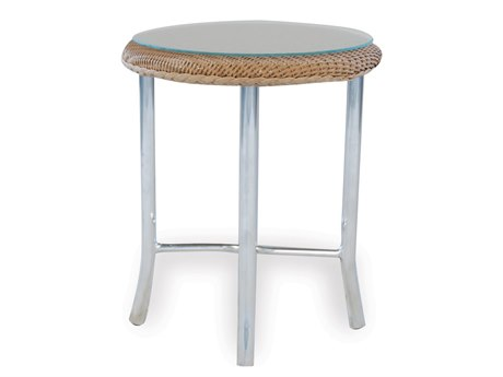Lloyd Flanders Wicker 20'' Round End Table with Traditional Weave