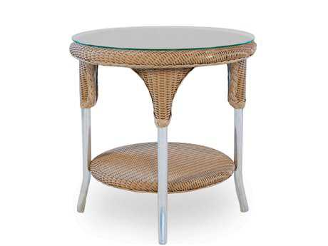 Lloyd Flanders Wicker 24'' Round End Table with Traditional Weave