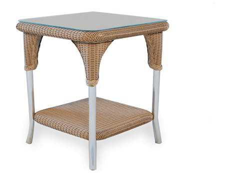 Lloyd Flanders Wicker 22'' Square End Table with Traditional Weave