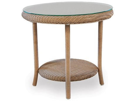 Lloyd Flanders Wicker 24.5'' Round End Table with Traditional Weave