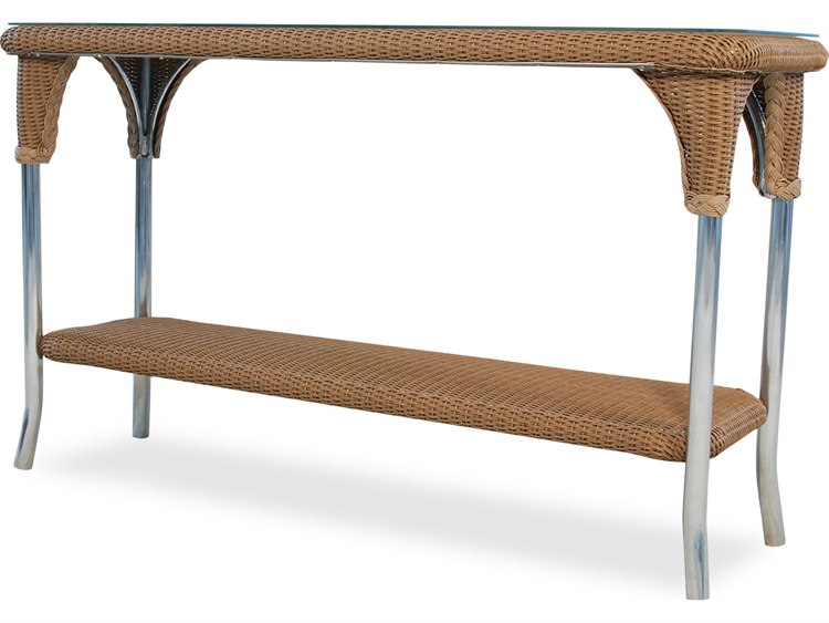 Lloyd Flanders Wicker 52'' x 19.5'' Rectangular Console Table with Traditional Weave