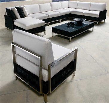 Lloyd Flanders Elements Steel Wicker Sectional Lounge Set