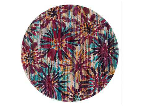 Loloi Rugs Aria HAR07 3'0'' Round Ivory / Berry Area Rug