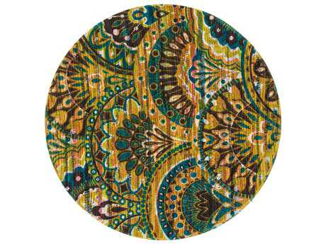 Loloi Rugs Aria HAR17 3'0'' Round Peacock / Yellow Area Rug