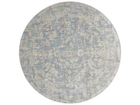 Loloi Rugs Florence FO-01 Round Light Blue / Ivory Area Rug