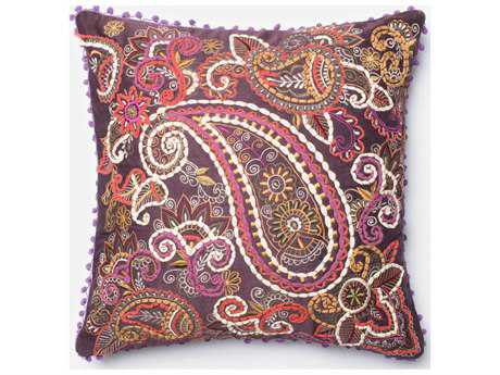 Loloi Rugs 22'' Square Purple & Beige Pillow (Sold in 4)