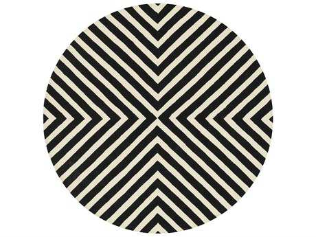 Loloi Rugs Palm Springs PM-01 7'10'' Round Black / Ivory Area Rug