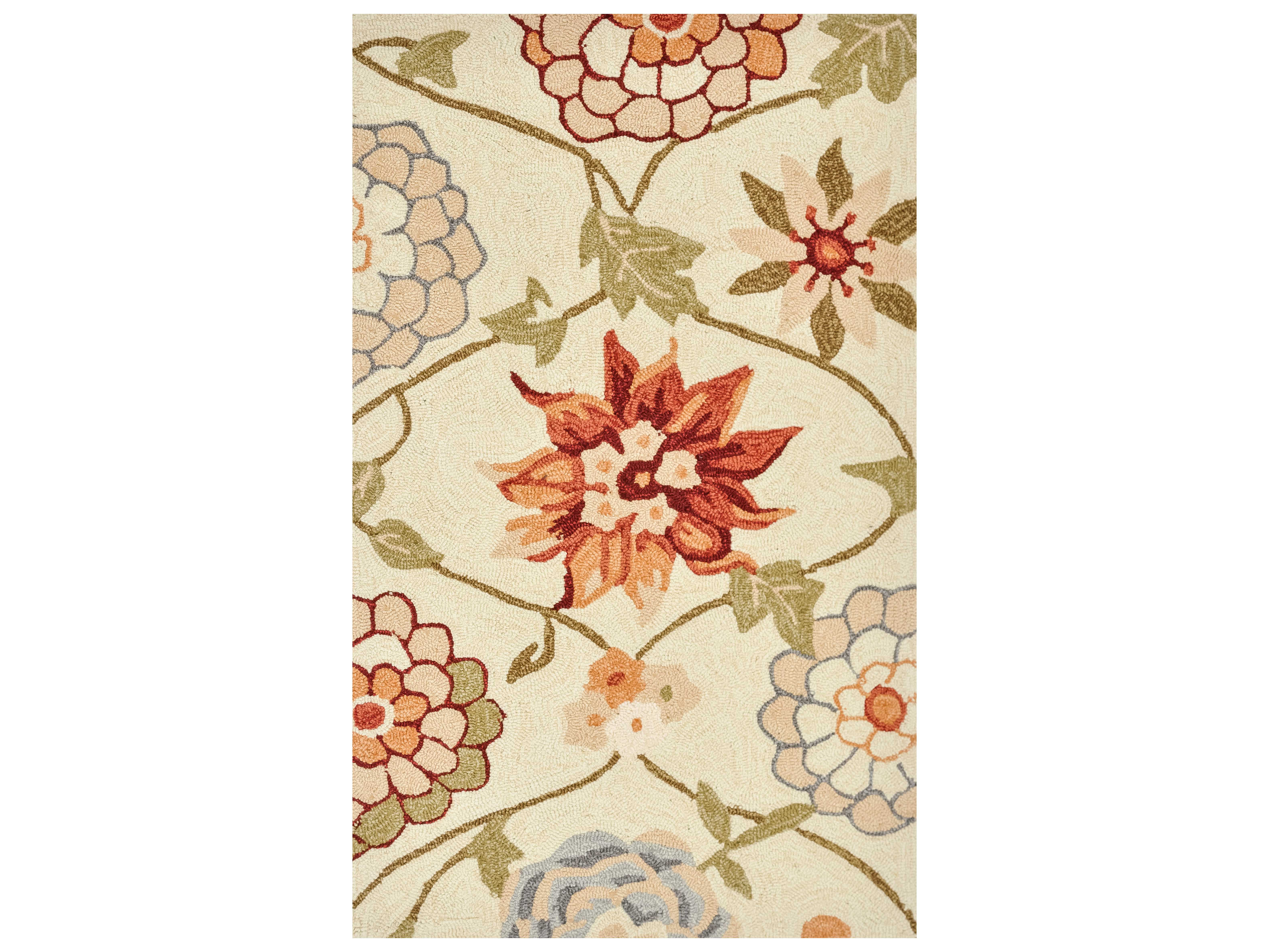 Loloi Rugs Summerton Srs11 Rectangular Ivory Floral Area