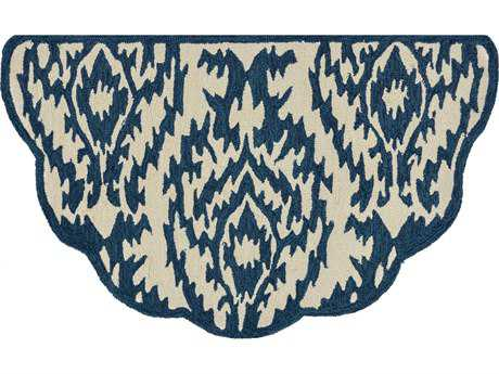 Loloi Rugs Summerton SRS13 2'3'' X 3'9'' Scalloped Hearth Ivory / Denim Area Rug