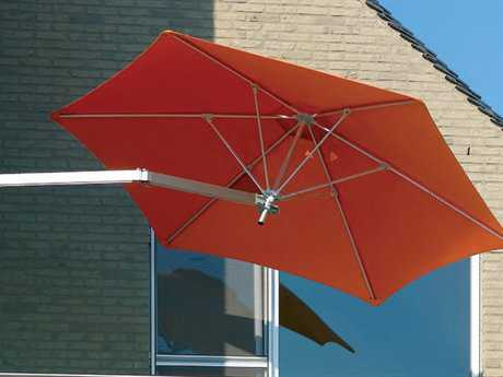 Luxury Umbrellas Paraflex Wallflex 9 Foot Push Lift Tilt Wall Mount Umbrella PatioLiving