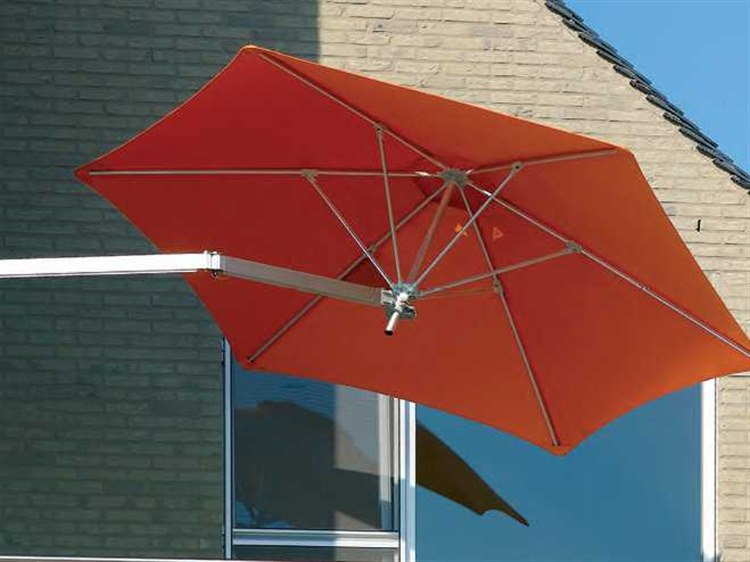 Luxury Umbrellas Paraflex Wallflex 9 Foot Push Lift Tilt Wall Mount Umbrella