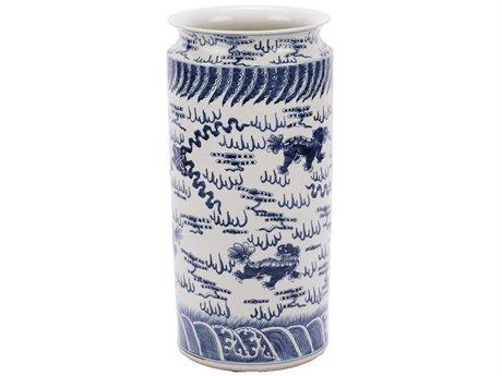 Legend of Asia Blue & White Lion Umbrella Stand LOA1167