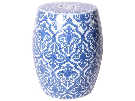 Legend of Asia Blue & White Paris Floral Garden Stool LOA1266