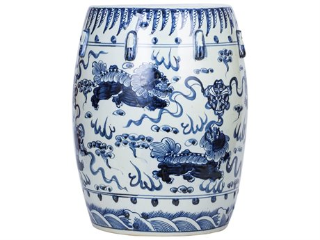 Legend of Asia Blue & White Garden Stool with Lion Motif LOA1311