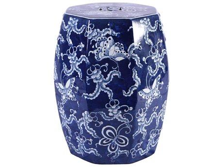 Legend of Asia Blue & White Hexagonal Butterfly Porcelain Garden Stool LOA1329