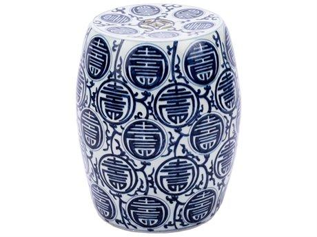 Legend of Asia Blue & White Longevity Porcelain Garden Stool LOA1361