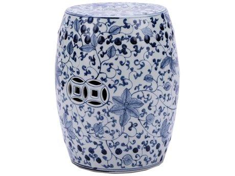 Legend of Asia Blue & White Climbing Vines Porcelain Garden Stool LOA1410