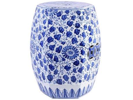 Legend of Asia Blue & White Hexagonal Porcelain Garden Stool Grape Vines LOA1411