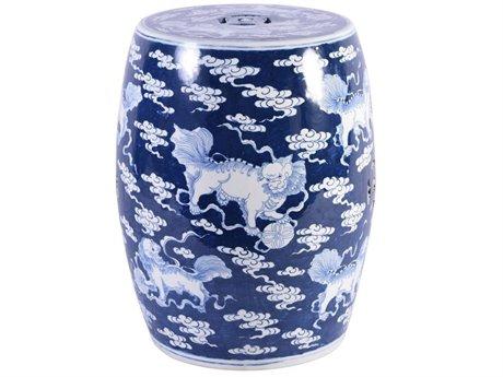 Legend of Asia Blue & White Porcelain Porcelain Garden Stool with Lion Motif