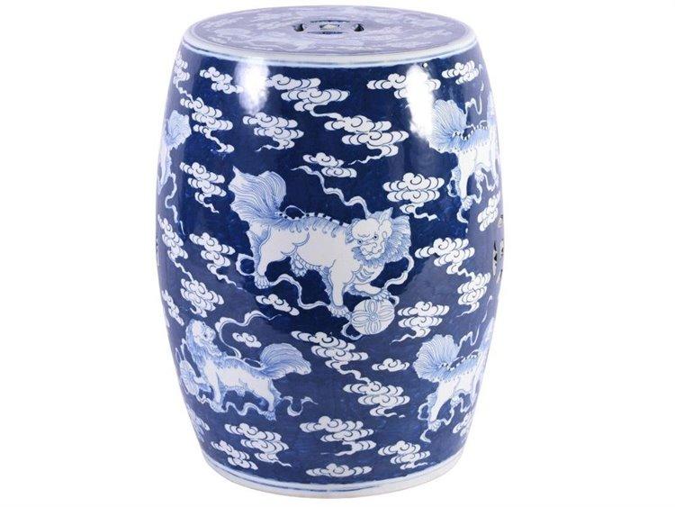 Legend Of Asia Blue White Porcelain Garden Stool With Lion Motif
