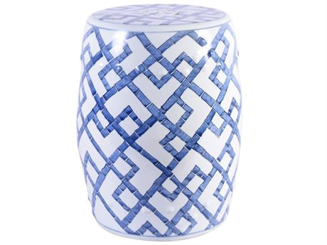 Legend of Asia Blue & White Bamboo Joints Porcelain Garden Stool