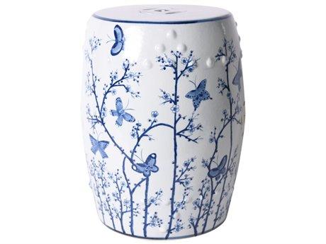 Legend of Asia Blue & White Butterfly Plum Porcelain Garden Stool