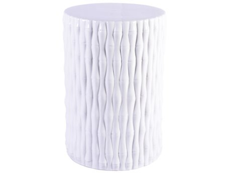 Legend of Asia White Bamboo Carving Cylinder Porcelain Garden Stool