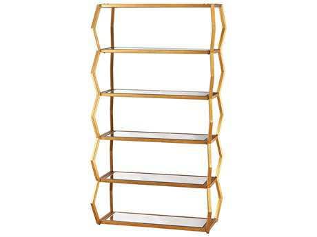 Dimond Home Anjelica 39L x 70H Gold Leaf & Clear Mirror Metal Bookcase