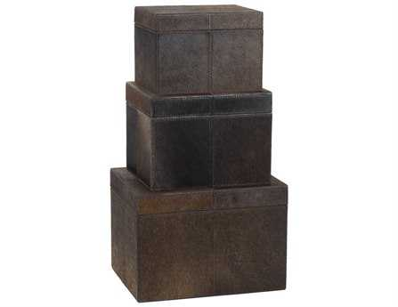 Dimond Home Nested Chestnut Faux Pony Boxes (Set of 3)