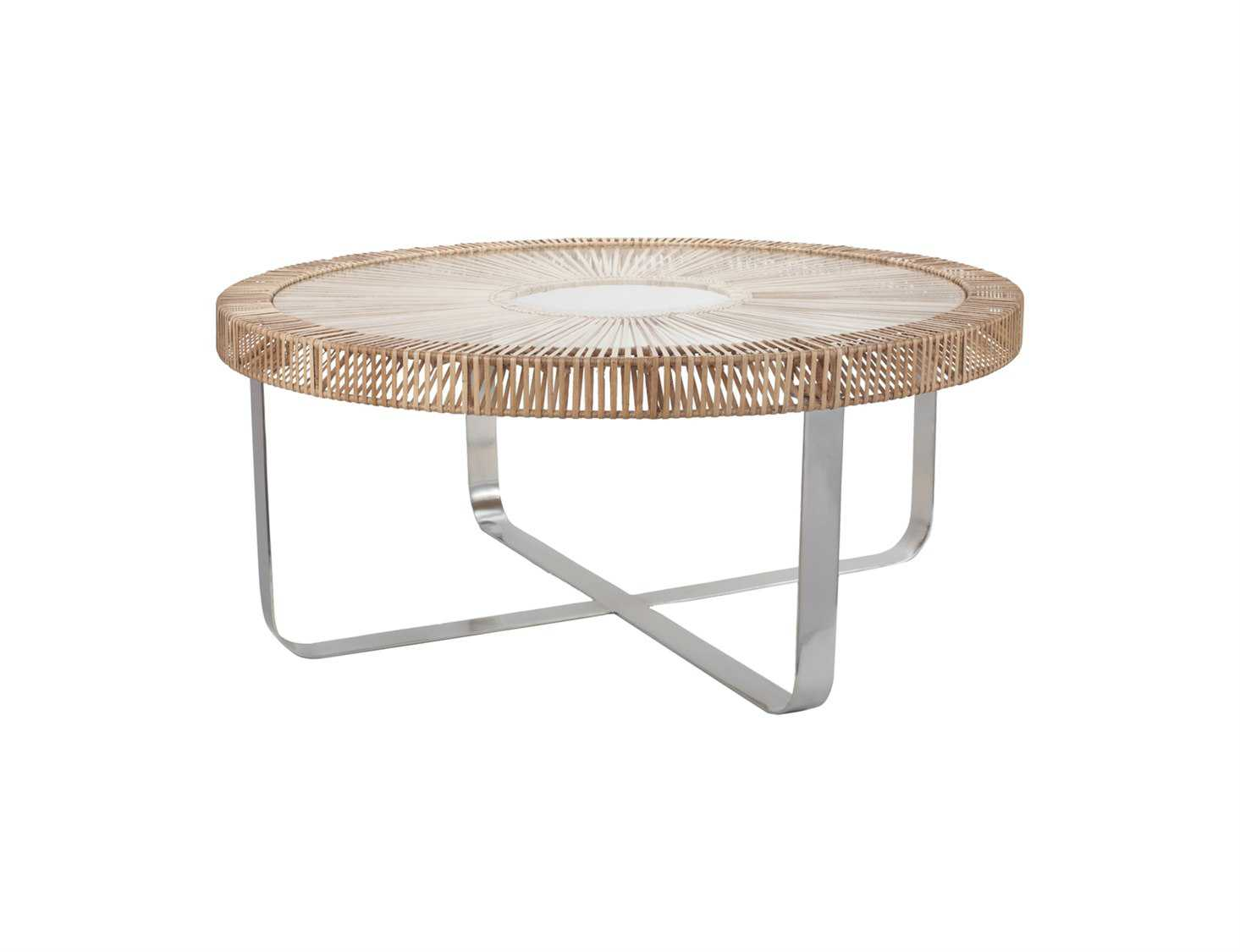 Dimond home 40 round natural split rattan coffee table ls466036 Rattan round coffee table