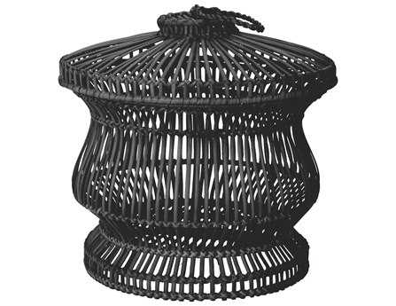 Dimond Home Black Split Rattan Spoke Bin