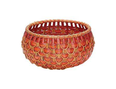 Dimond Home Small Red & Orange Fish Scale Basket