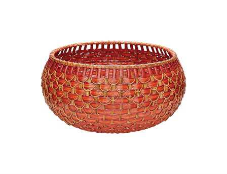 Dimond Home Large Red & Orange Fish Scale Basket
