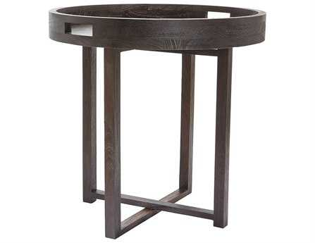 Dimond Home Large 26 Round Black Teak Tray End Table