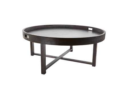 Dimond Home 42 Round Black Teak Tray Coffee Table