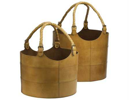 Dimond Home Caramel Nested Leather Buckets (Set of 2)