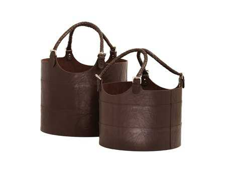 Dimond Home Espresso Nested Leather Buckets (Set of 2)
