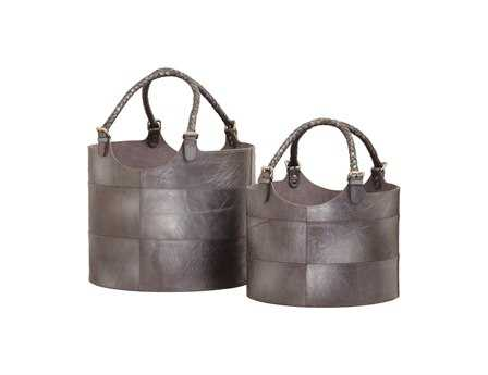 Dimond Home Gunmetal Nested Leather Buckets (Set of 2)