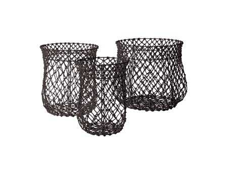 Dimond Home Nested Black Fisherman Rope Baskets (Set of 3)