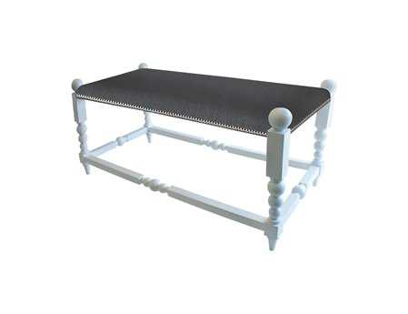 Dimond Home White Julianne Accent Bench with Gun Metal Fabric