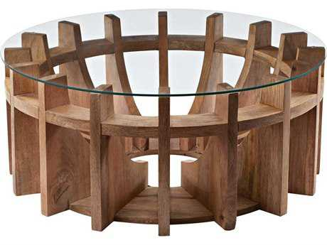 Dimond Home 36 Round Wooden Sundial Coffee Table