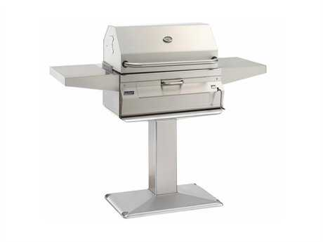 Fire Magic Charcoal Stainless Steel 24'' Post BBQ Grill with Smoker Oven Hood
