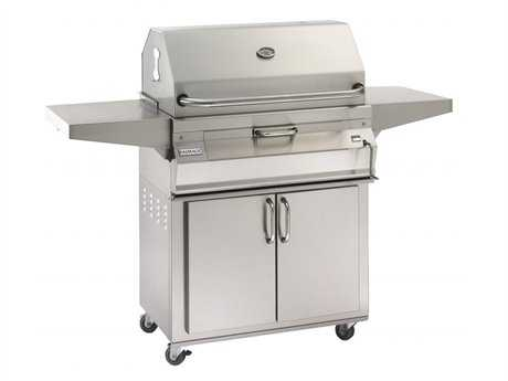 Fire Magic Charcoal Stainless Steel 24'' Cart BBQ Grill with Smoker Oven Hood