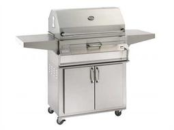 Charcoal Stainless Steel 24'' Cart BBQ Grill with Smoker Oven Hood