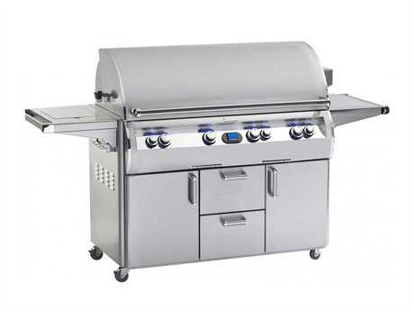 Fire Magic Echelon Diamond Stainless Steel 48'' On Cart Digital Patio BBQ Grill with Single Side Burner PatioLiving