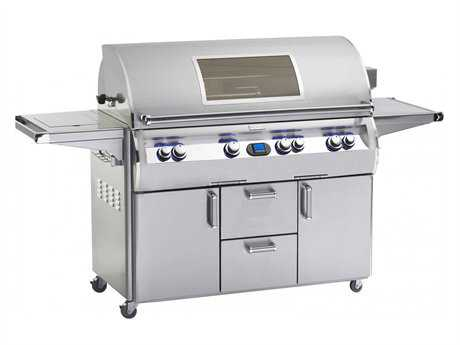 Fire Magic Echelon Diamond Stainless Steel 48'' On Cart Digital Magic View Patio BBQ Grill with Single Side Burner