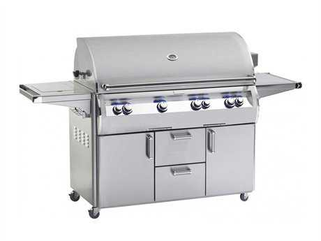 Fire Magic Echelon Diamond Stainless Steel 48'' On Cart Analog Patio BBQ Grill with Single Side Burner PatioLiving