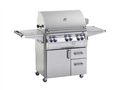 Fire Magic Echelon Diamond Stainless Steel 30'' On Cart Analog Patio BBQ Grill with Single Side Burner PatioLiving