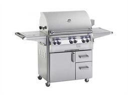 Echelon Diamond Stainless Steel 30'' On Cart Analog Patio BBQ Grill with Single Side Burner